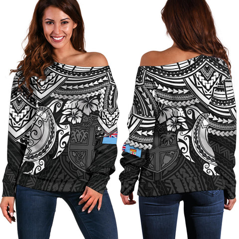 Image of Fiji Polynesian Women's Off  Shoulder Sweater - White Turtle