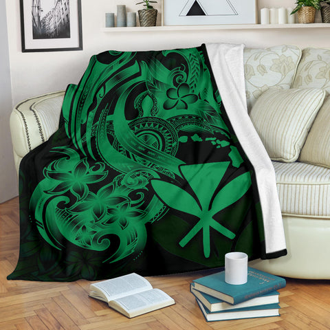 Polynesian Hawaii All Over Premium Blanket - Kanaka Maoli Green Turtle