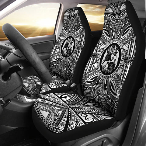 Tonga Car Seat Cover - Tonga Coat Of Arms Polynesian White Black