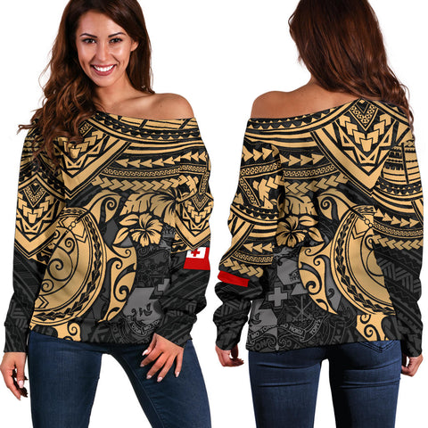 Tonga Polynesian Women's Off Shoulder Sweater - Golden Turtle