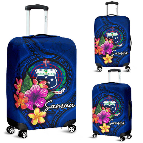 Samoa Polynesian Luggage Covers - Floral With Seal Blue