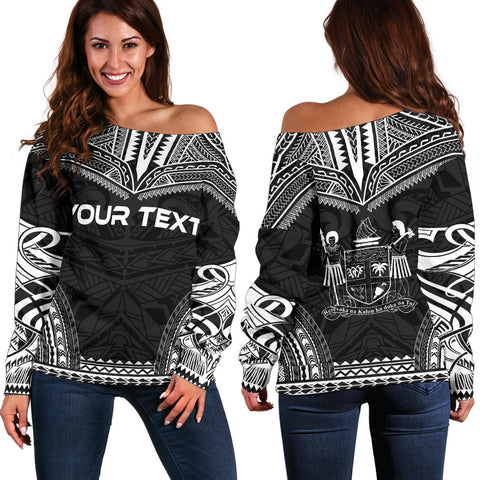 Image of Fiji Polynesian Chief Custom Personalised Women's Off Shoulder Sweater - Black Version - Polynesian Apparel, Poly Clothing, Women Sweater
