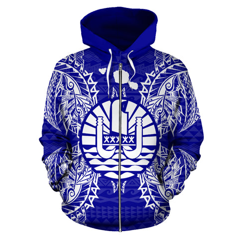French Polynesia Polynesian All Over Zip Up Hoodie Map Blue
