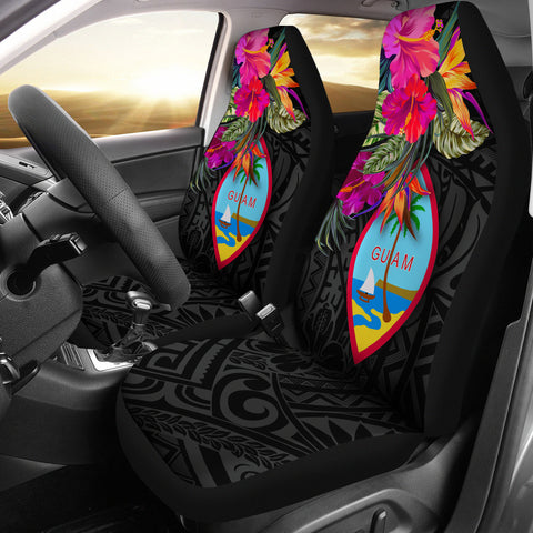 Image of Guam Car Seat Covers - Hibiscus Polynesian Pattern