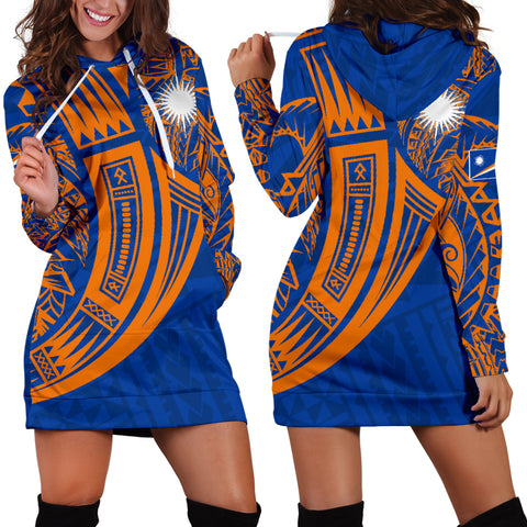 Marshall Islands Polynesian Women's Hoodie Dress - Tribal Tattoo