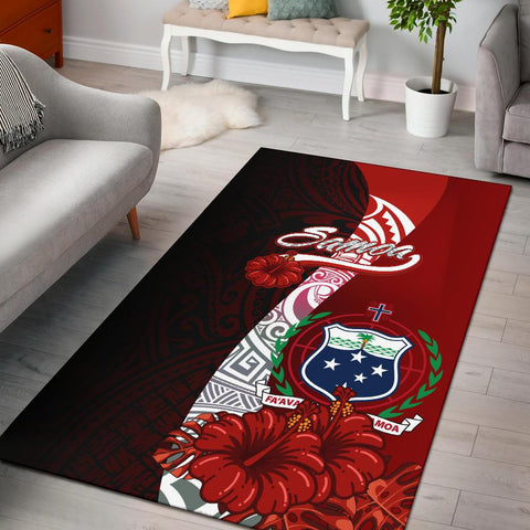 Samoa Polynesian Area Rug - Coat Of Arm With Hibiscus