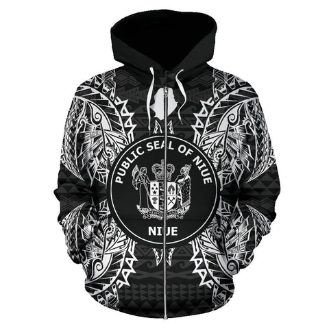 Niue Polynesian All Over Zip Up Hoodie Map Black