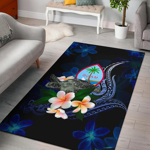 Guam Polynesian Area Rug - Turtle With Plumeria Flowers