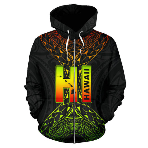Image of Hawaii Map Polynesian All Over Zip-Up Hoodie font