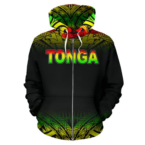 Tonga Polynesian All Over Zip-Up Hoodie - Reggae Fog - BN12