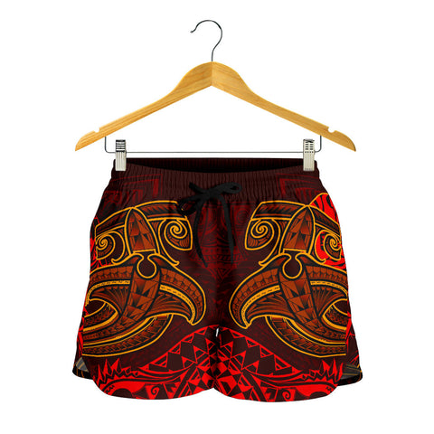 Image of Tahiti Women's Shorts - Red Shark Polynesian Tattoo - BN18