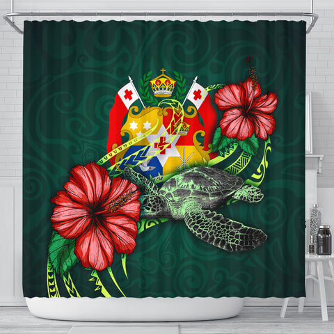 Image of Tonga Polynesian Shower Curtain - Green Turtle Hibiscus