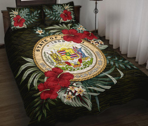Hawaii Polynesian Quilt Bed Set - Special Hibiscus