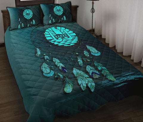 Tahiti Polynesian Quilt Bed Set Dreamcatcher Blue