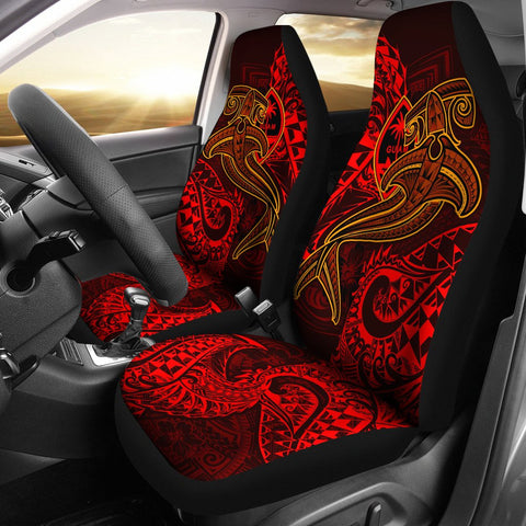 Guam Polynesian Car Seat Covers - Red Shark Polynesian Tattoo