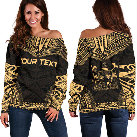 Fiji Polynesian Chief Custom Personalised Women's Off Shoulder Sweater - Gold Version - Polynesian Apparel, Poly Clothing, Women Sweater