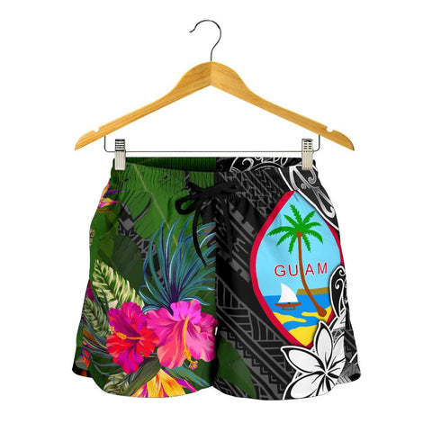 Guam Women Shorts - Turtle Plumeria Banana Leaf - BN11