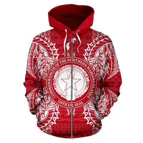 Northern Mariana Islands Polynesian All Over Zip Up Hoodie Map Red White