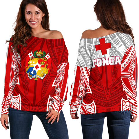 Image of Tonga Polynesian Women's Off Shoulder Sweater - Pattern With Seal Red Version