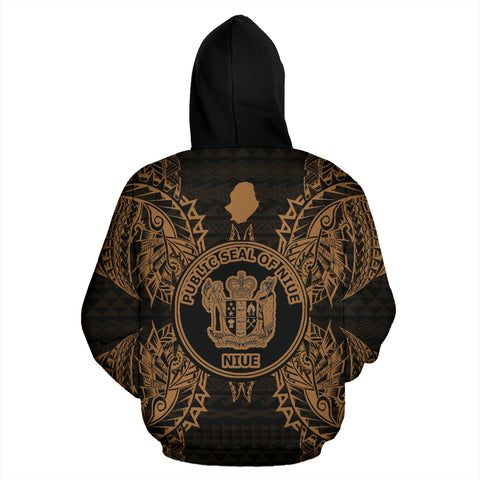 Image of Niue Polynesian All Over Zip Up Hoodie Map Gold - BN39