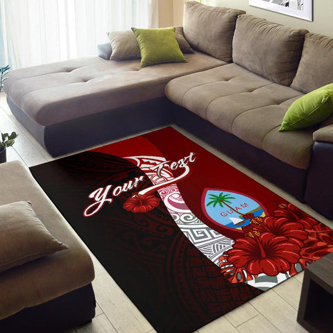 Guam Polynesian Custom Personalised Area Rug - Coat Of Arm With Hibiscus - BN12