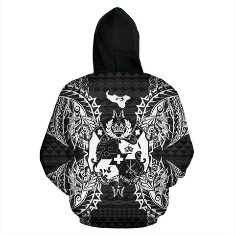 Image of Tonga Polynesian All Over Zip Up Hoodie Map Black - BN39