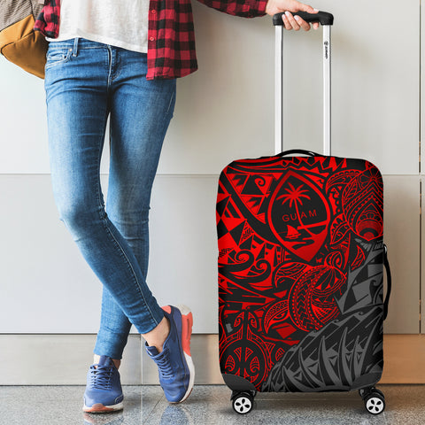Guam Polynesian Luggage Covers - Red Turtle Flowing