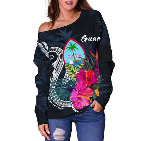 Guam Polynesian Women's Off Shoulder Sweater - Tropical Flower - BN12