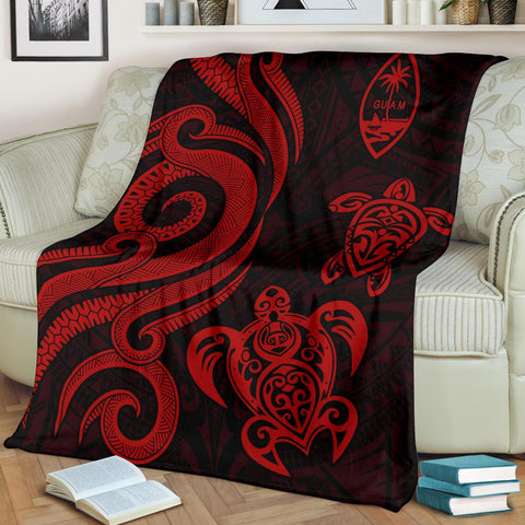 Image of Guam Polynesian Premium Blanket - Red Tentacle Turtle - BN11