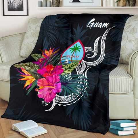 Image of Guam Polynesian Premium Blanket - Tropical Flower