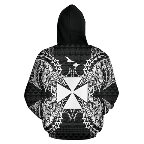 Wallis And Futuna Polynesian All Over Zip Up Hoodie Map Black - BN39