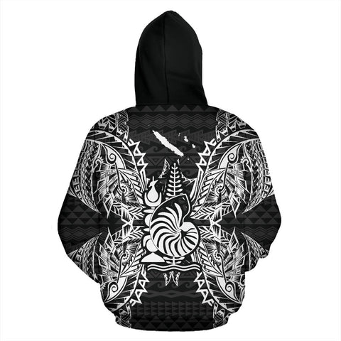 New Caledonia Polynesian All Over Zip Up Hoodie Map Black - BN39