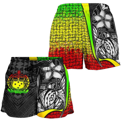Samoa Polynesian Women's Shorts Reggae - Turtle With Hook - BN11
