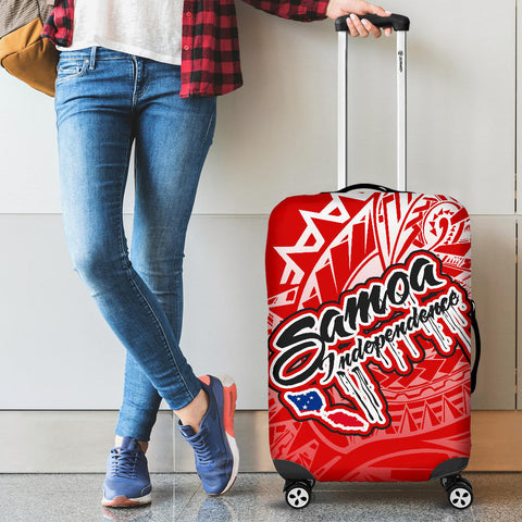 Samoa Polynesian Luggage Covers - Independence Day Red Version - BN12
