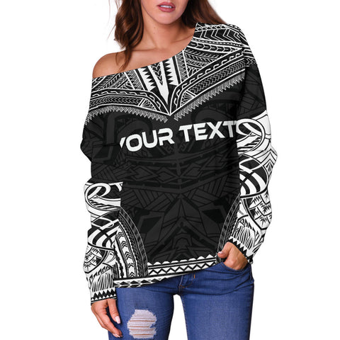Austral Islands Polynesian Chief Custom Personalised Women's Off Shoulder Sweater - Black Version - Polynesian Apparel, Poly Clothing, Women Sweater