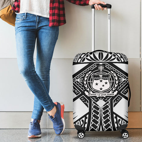 Image of Samoa Polynesian Luggage Covers - Samoa White Seal with Polynesian Tattoo