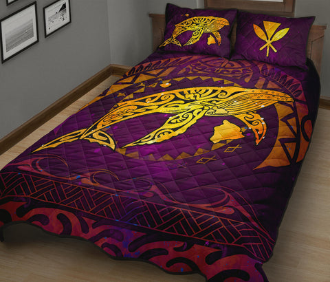 Polynesian Hawaii Quilt Bed Set - Whale Hawaii Map Purple Galaxy - BN11