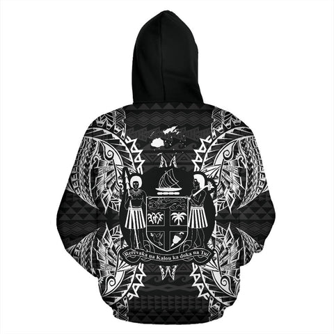 Fiji Polynesian All Over Zip Up Hoodie Map Black - BN39