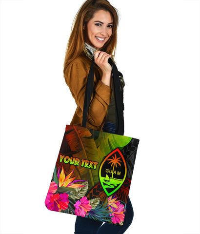 Guam Polynesian Personalised Tote Bag -  Hibiscus and Banana Leaves