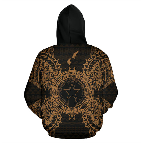 Northern Mariana Islands Polynesian All Over Zip Up Hoodie Map Gold - BN39