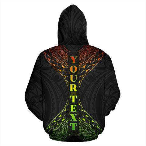 Image of Hawaii Map Polynesian All Over Zip-Up Hoodie - Custom Style back