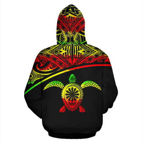 Turtle All Over Custom Personalised Zip-Up Hoodie - Polynesian Reggae Curve Style - BN09