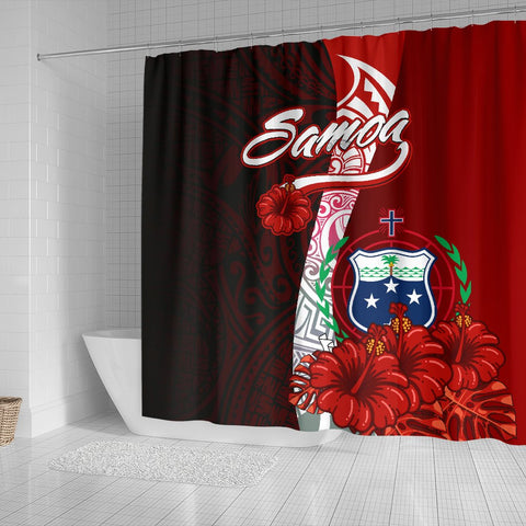 Image of Samoa Polynesian Shower Curtain - Coat Of Arm With Hibiscus - BN12