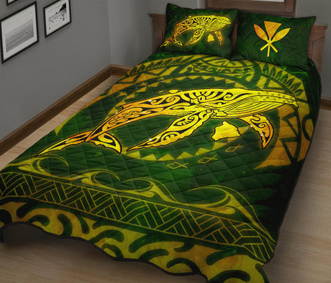 Polynesian Hawaii Quilt Bed Set - Whale Hawaii Map Gold Galaxy - BN11