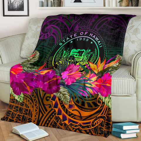 Image of Polynesian Hawaii Premium Blanket - Summer Hibiscus
