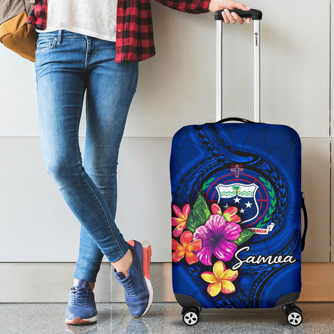 Samoa Polynesian Luggage Covers - Floral With Seal Blue - BN12