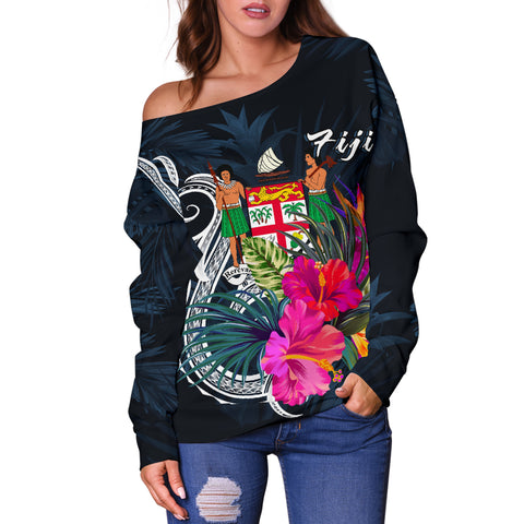Fiji Polynesian Women's Off Shoulder Sweater - Tropical Flower - BN12