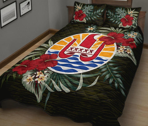 Image of French Polynesia Polynesian Quilt Bed Set - Special Hibiscus A7