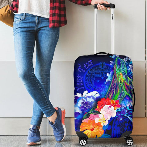[Custom] Samoa Luggage Covers - Humpback Whale with Tropical Flowers (Blue)