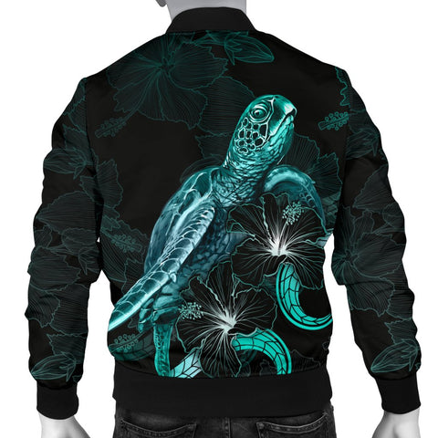 Image of Guam Polynesian Men's Bomber Jacket - Turtle With Blooming Hibiscus Turquoise